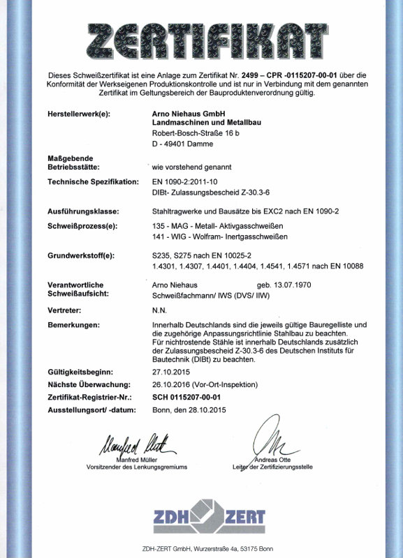 Qualität - Landmaschinen und Stahlbau Arno Niehaus GmbH